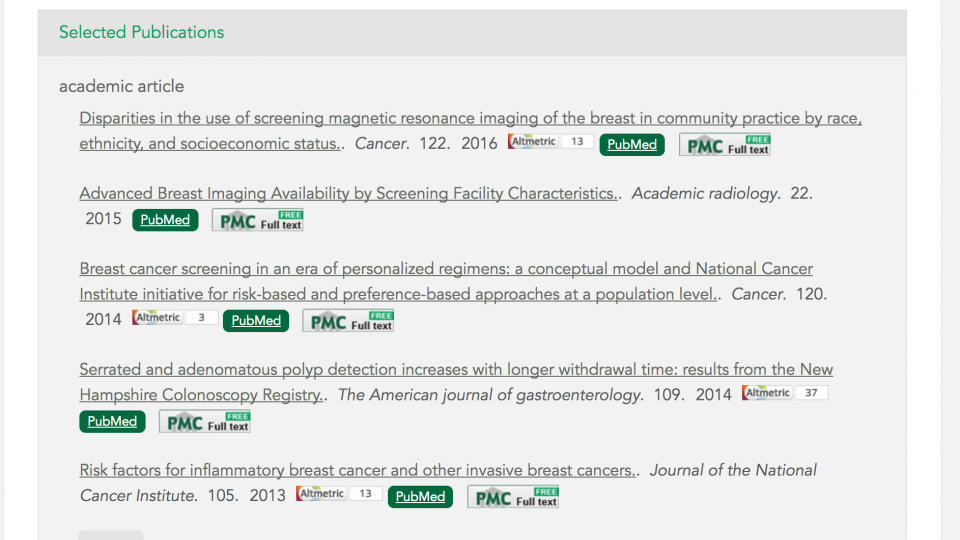 Dartmouth VIVO - Screenshot showing Selected Publications with links to PubMed, PubMedCentral, and Altmetric